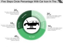Five Steps Circle Percentage With Car Icon In The Center