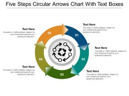Five Steps Circular Arrows Chart With Text Boxes