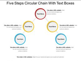 Five Steps Circular Chain With Text Boxes