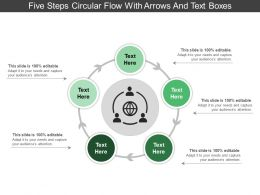 Five Steps Circular Flow With Arrows And Text Boxes