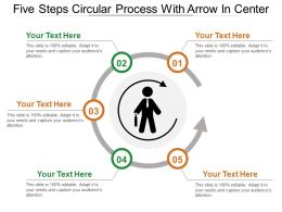 Five Steps Circular Process With Arrow In Center