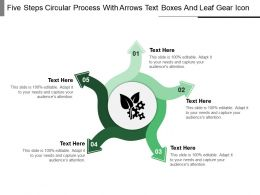 Five Steps Circular Process With Arrows Text Boxes And Leaf Gear Icon