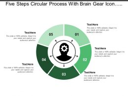 Five Steps Circular Process With Brain Gear Icon And Text Holders