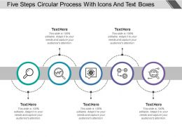 Five Steps Circular Process With Icons And Text Boxes
