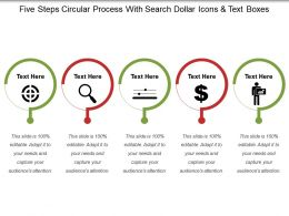 Five Steps Circular Process With Search Dollar Icons And Text Boxes