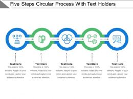Five Steps Circular Process With Text Holders
