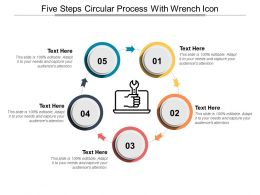 Five Steps Circular Process With Wrench Icon