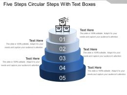 Five Steps Circular Steps With Text Boxes