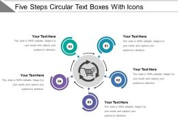 Five Steps Circular Text Boxes With Icons