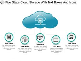 Five Steps Cloud Storage With Text Boxes And Icons