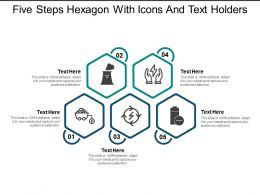 Five Steps Hexagon With Icons And Text Holders