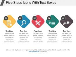 Five Steps Icons With Text Boxes