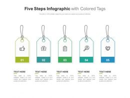 Five Steps Infographic With Colored Tags
