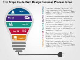 Five Steps Inside Bulb Design Business Process Icons Flat Powerpoint Design