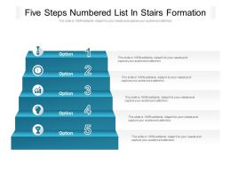 Five Steps Numbered List In Stairs Formation