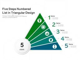 Five Steps Numbered List In Triangular Design