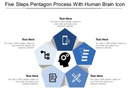 Five Steps Pentagon Process With Human Brain Icon