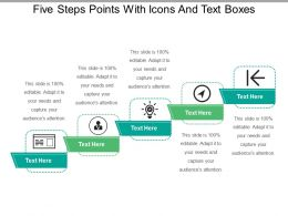 Five Steps Points With Icons And Text Boxes