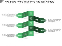 Five Steps Points With Icons And Text Holders