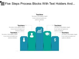 Five Steps Process Blocks With Text Holders And Icons