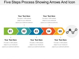 Five Steps Process Showing Arrows And Icon