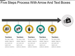 Five Steps Process With Arrow And Text Boxes