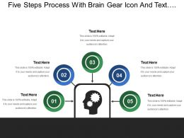 Five Steps Process With Brain Gear Icon And Text Holders