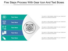 Five Steps Process With Gear Icon And Text Boxes