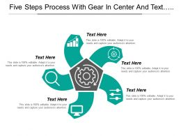 Five Steps Process With Gear In Center And Text Boxes