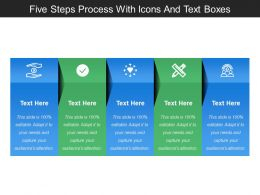 Five Steps Process With Icons And Text Boxes
