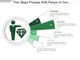 Five Steps Process With Person In Center Icon