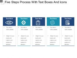 Five Steps Process With Text Boxes And Icons