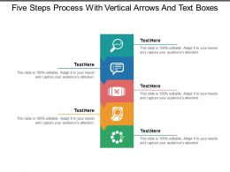 Five Steps Process With Vertical Arrows And Text Boxes