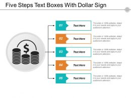 Five Steps Text Boxes With Dollar Sign