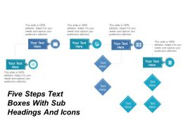 Five Steps Text Boxes With Sub Headings And Icons
