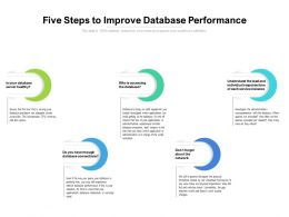Five Steps To Improve Database Performance