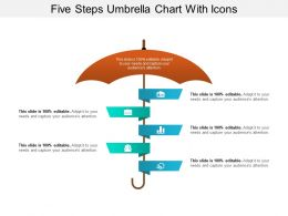 Five Steps Umbrella Chart With Icons