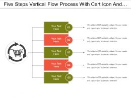 Five Steps Vertical Flow Process With Cart Icon And Text Boxes