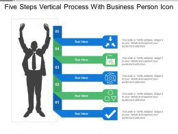 Five Steps Vertical Process With Business Person Icon