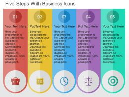 Five Steps With Business Icons Flat Powerpoint Design