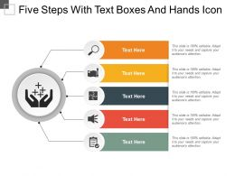 Five Steps With Text Boxes And Hands Icon