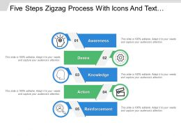 Five Steps Zigzag Process With Icons And Text Holders
