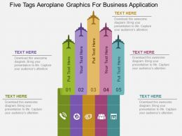 Five Tags Aeroplane Graphics For Business Application Flat Powerpoint Design