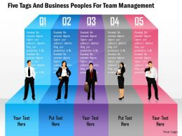 Five Tags And Business Peoples For Team Management Powerpoint Template