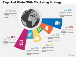 Five Tags And Globe With Marketing Strategy Ppt Presentation Slides