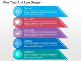 Five Tags And Icon Diagram Flat Powerpoint Design