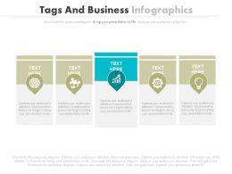 Five Tags And Icons Business Infographics Powerpoint Slides
