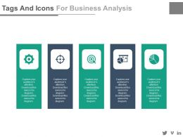 Five Tags And Icons For Business Analysis Flat Powerpoint Design