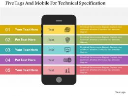 Five Tags And Mobile For Technical Specification Flat Powerpoint Design
