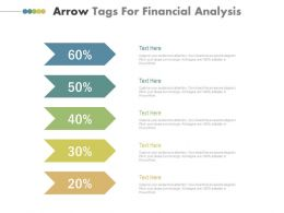 Five Tags Arrow Tags For Financial Analysis Powerpoint Slides